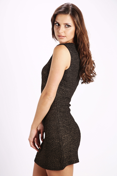 Textured Metallic Bodycon Dress