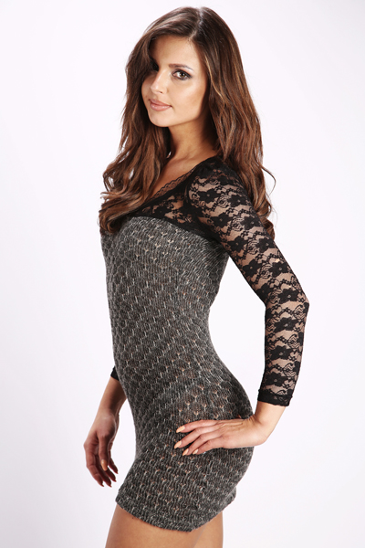 Metallic Knit & Lace Bodycon Dress