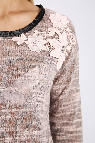 Embroidered Flower Knit Pullover
