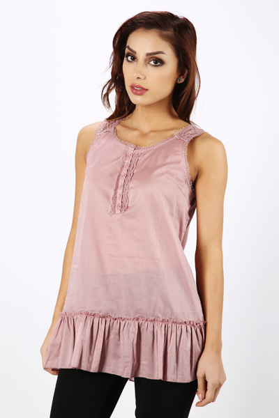 Frilled Hem Cotton Top