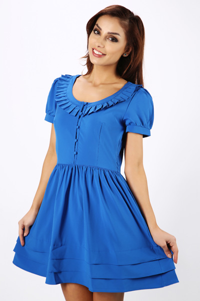 Frilled Neck Button Front Dress