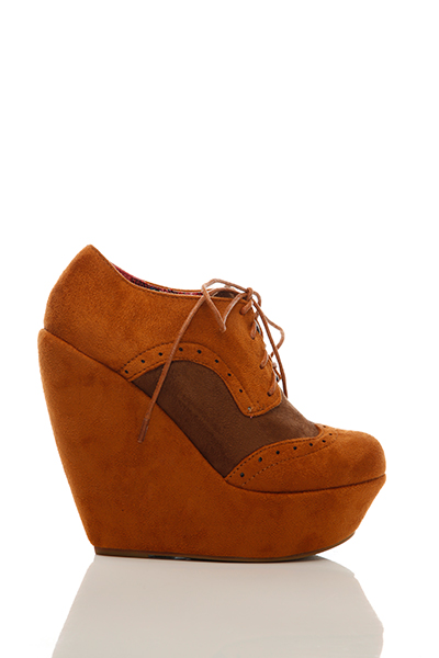 Two Tone Suedette Wedge Brogue Boots