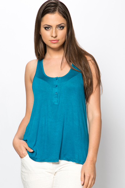 Button Neck Swing Top