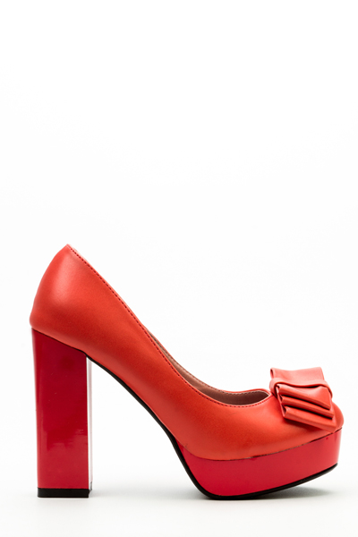 Image of Block Heel Bow Court Shoes