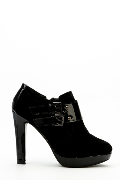Hi-Shine Buckle Panel Ankle Boots