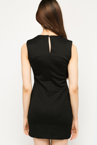 PU Lasercut Neckline Dress