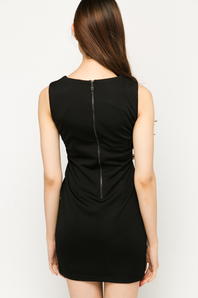 Faux Leather Embossed Trim Dress