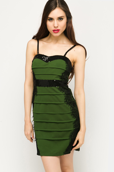 Sequin & Eyelash Trim Bodycon Dress