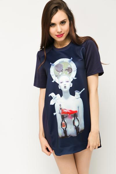 Futuristic Girl Print Tunic