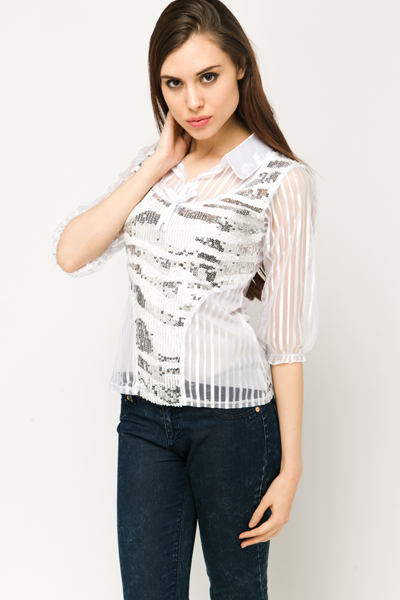 Sheer Insert Sequin Blouse