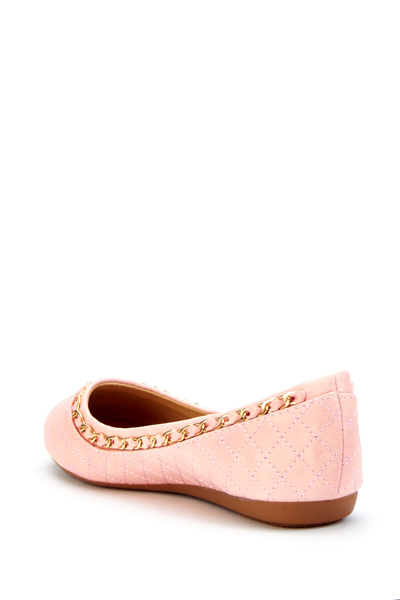 Chain Trim Quilted Pink Flat Pumps