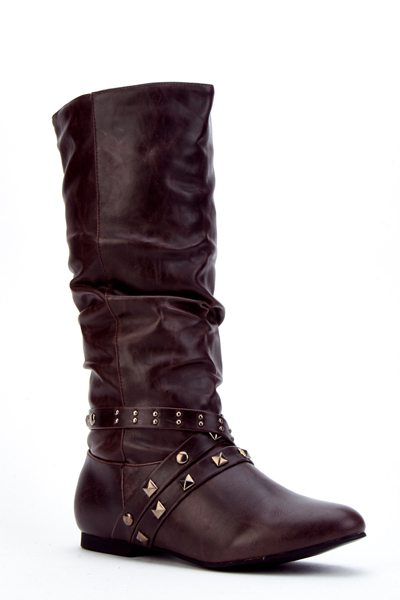 Studded Trim Faux Leather Cowboy Boots