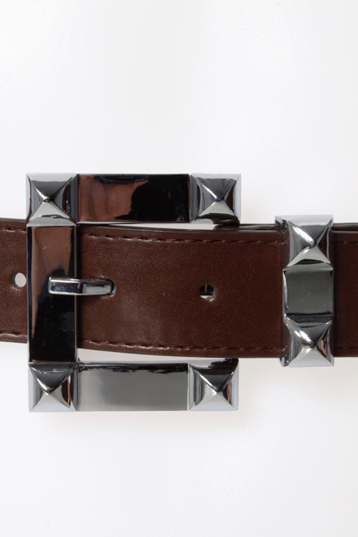 Raised Square Buckle Faux Leather Belt