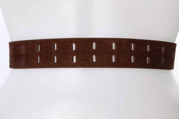 Full Length Double Perforated Faux Nubuck Belt