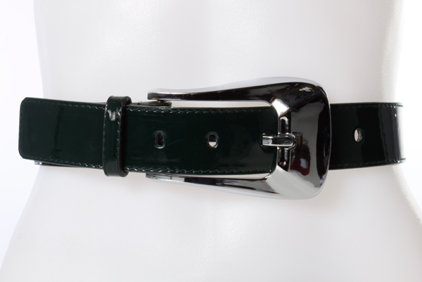 Large Metal Buckle Patent PVC Belt