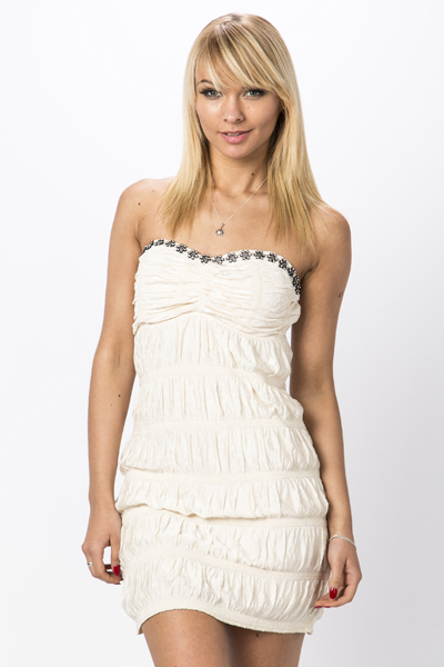 Flower Encrusted Neckline Ruffle Party Dress