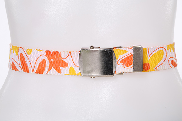 Abstract Floral Pattern Canvas Belt