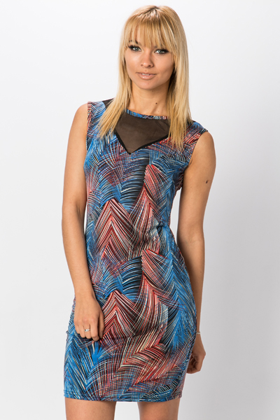 Mesh Insert Graphic Dress