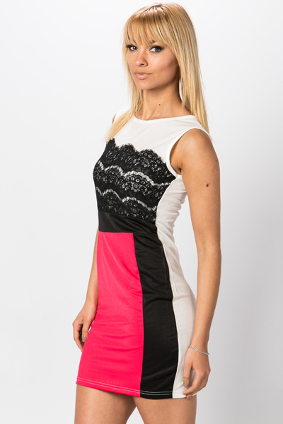 Contrast Lace Bodycon Dress