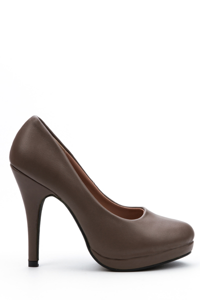 Image of Classic Faux Leather Heel Court Shoes