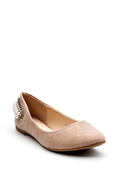 Pearl Embellished Suedette Pumps