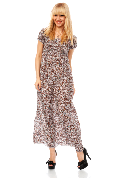 Floral Pattern Off Shoulder Maxi Dress