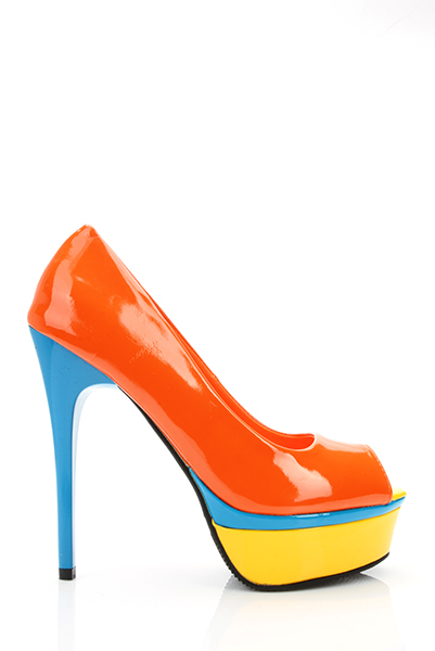 Multicolour Platform Patent PVC Peep Toe Shoes