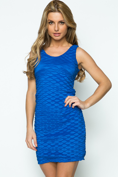 Bow Back Wave Embossed Dress