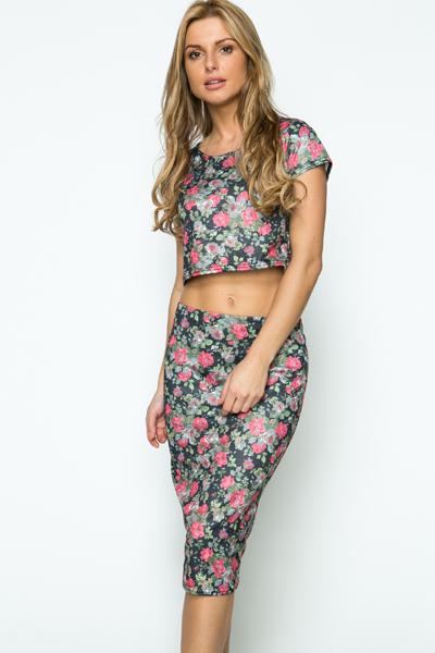 9219cd393cdfcf Rose Print Crop Top   Skirt Set - Just £5