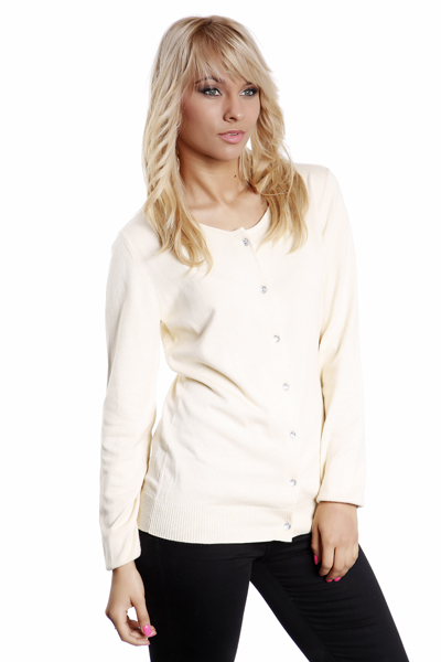 Ribbed Hem Crystal Button Cardigan