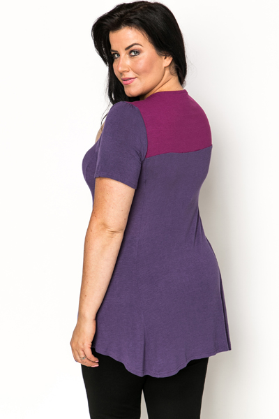 Asymmetric Hem Colour Block Tunic