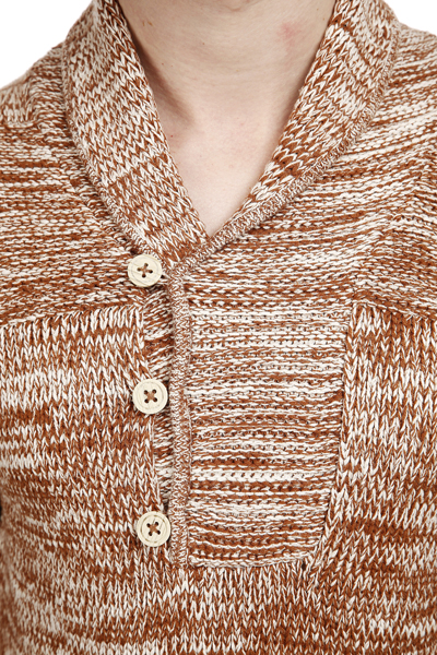 Speckled Knit Button Collar Jumper