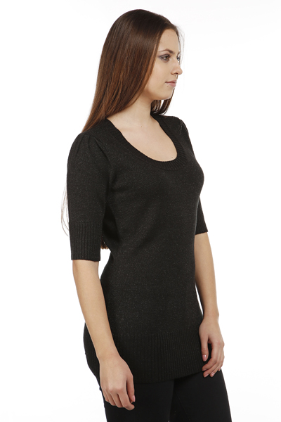 Metallic Fibre Pleated Shoulder Jumper