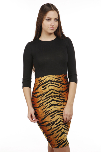 Two Tone Tiger Print Dress