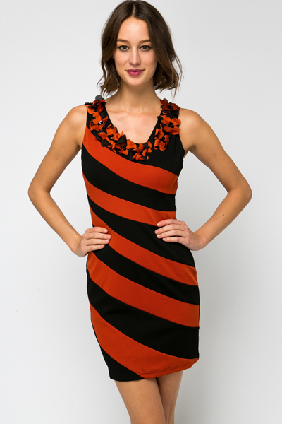 Flower Embellished Neckline Stripe Dress
