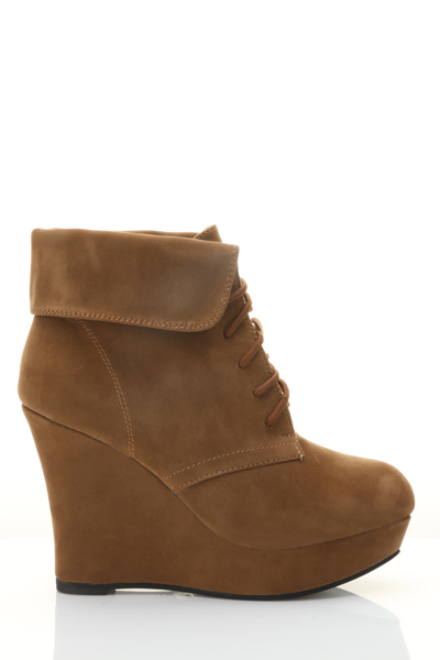 Folded Lace Up Wedge Boots