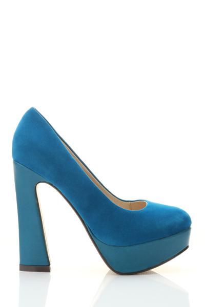 Block Heel Suedette Court Shoes