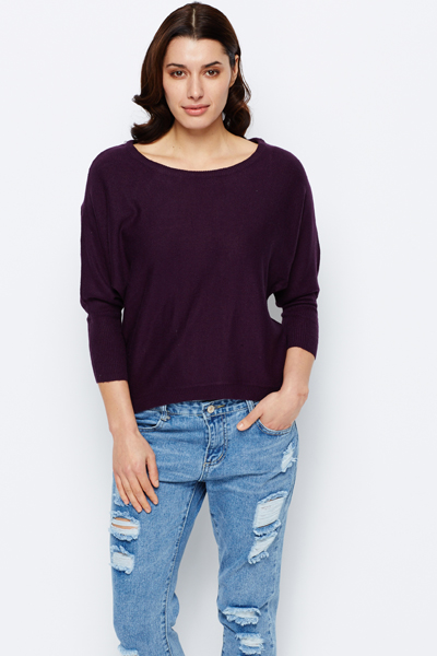 Dipped Hem Casual Jumper