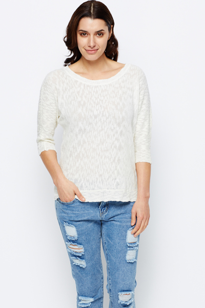 Zip Back Loose Knit Jumper