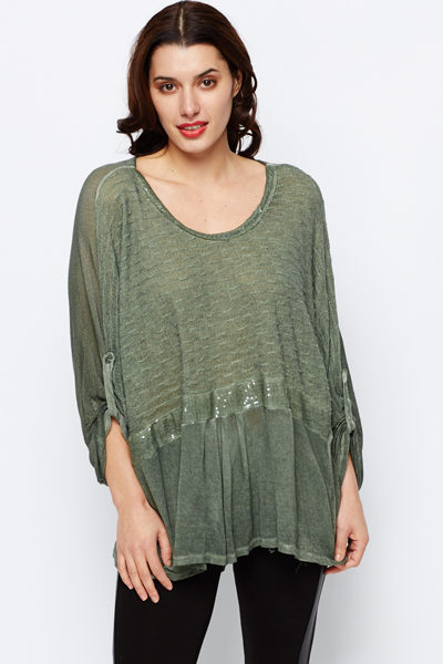Sequin Trim Mix Knit Tunic