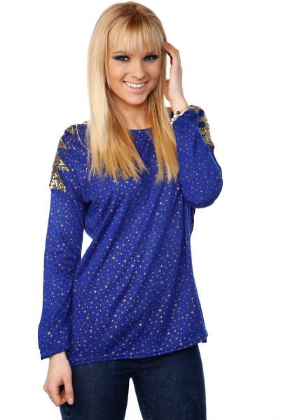Sequined Shoulders Star Print Top