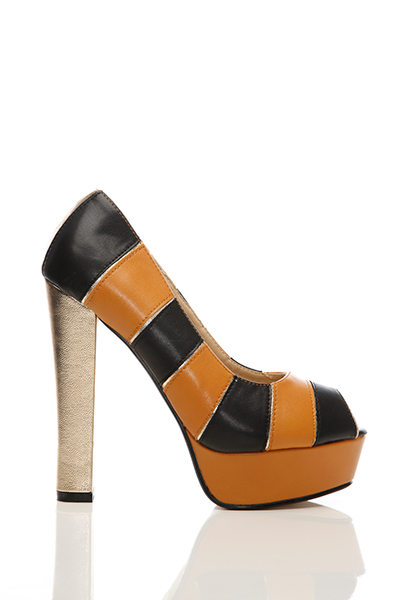 Metal Shimmer Stripey Thick Heel Shoes
