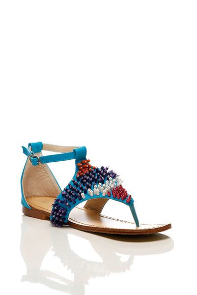 Multicolour Beads Embellished Thong Sandals