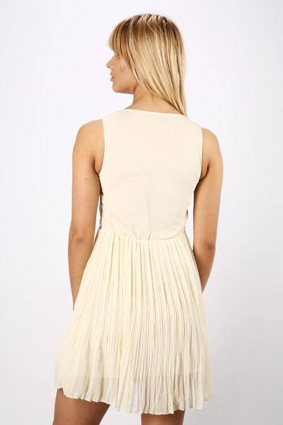 Gold Embroidered Pleated Dress