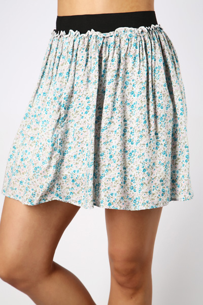 Cotton Flared Mini Skirt