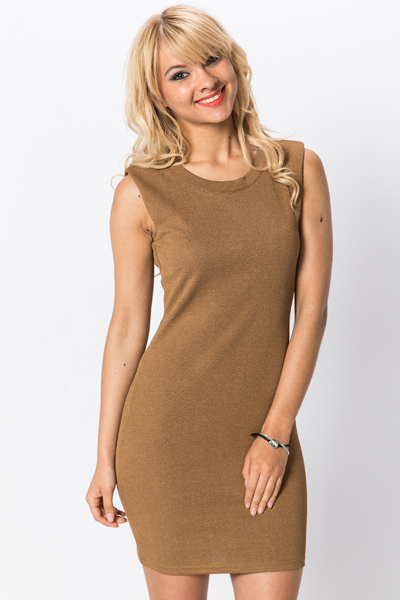 Mesh Back Textured Bodycon Dress