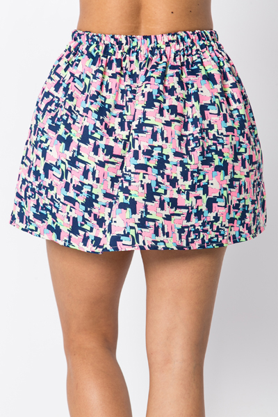 Abstract Neon Skater Skirt
