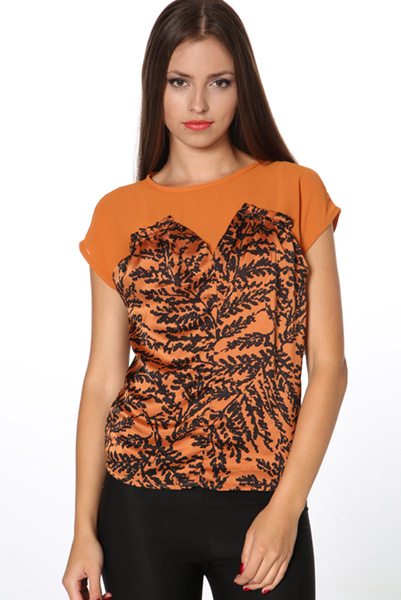Asparagus Pattern Ruched Front Top