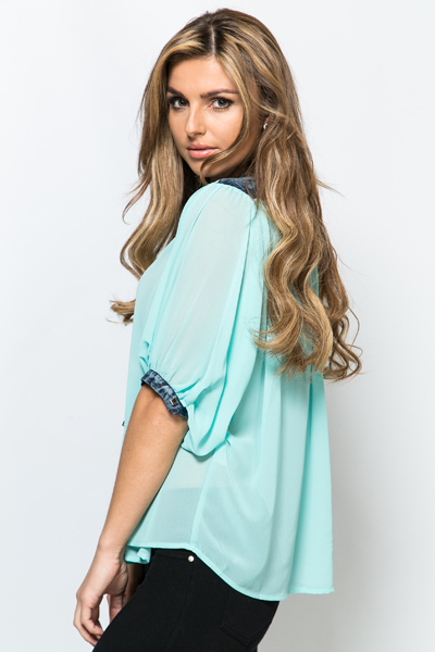 Denim Trim Sheer Blouse
