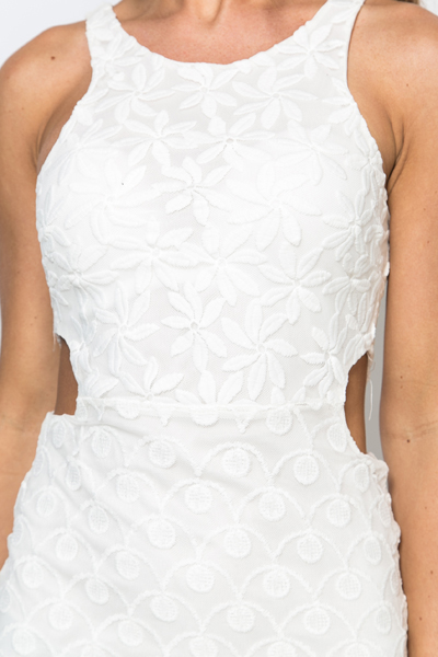 Cut-Out Lace Overlay Dress